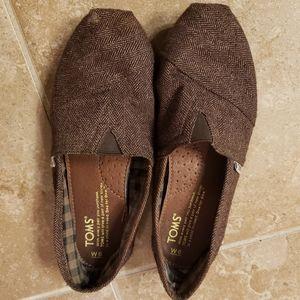 TOMS Dark Brown Herringbone Pattern Slip On Flats